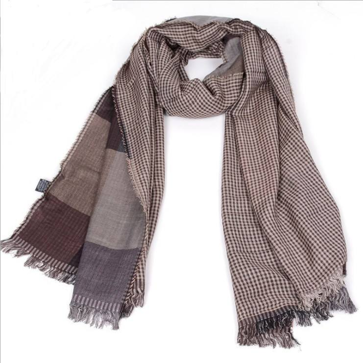 wholesale printing grid and tassel knitting scarf man scarf cashmere