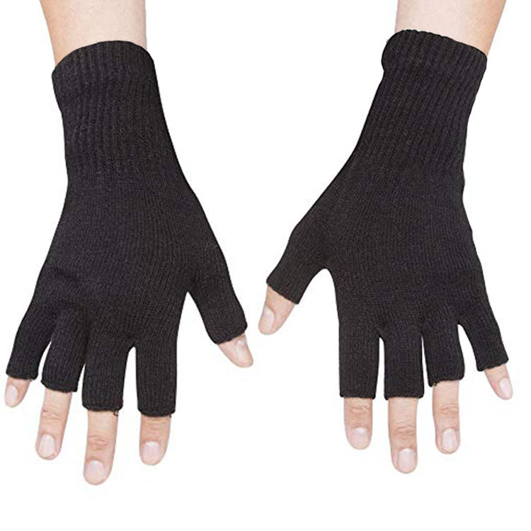 Fancy Kinted Cashmere Mitten Gloves Half Finger Gloves