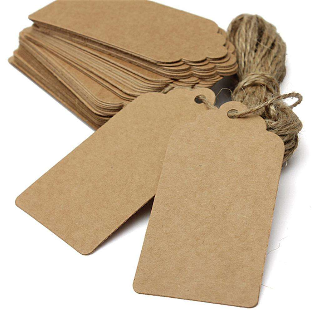 Recordable Recycle Printed Custom Shape Brown Kraft Paper Tag