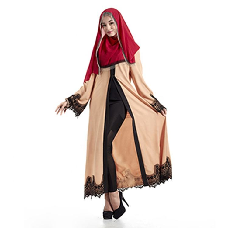 Fashion Turkey Abaya For Women Lace Long Sleeve Muslim Hijab Dress Islamic Turkish Clothes