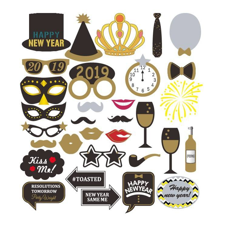 2019 New Years Eve Party Photo Booth <span class=keywords><strong>Puntelli</strong></span> 31 pz Kit FAI DA TE Carta di Photobooth Prop Maschere Cappello Baffi Labbra Rosse occhiali Decorazione