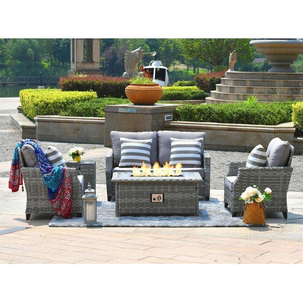 4 Seats outdoor rattan knocked down Aluminum Gas Fire Pit sofa set