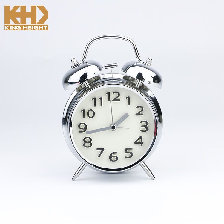 KH-CL090 Raja Tinggi Klasik Retro Double Bell LED Backlight Jam Mekanik Meja Chrome Jam