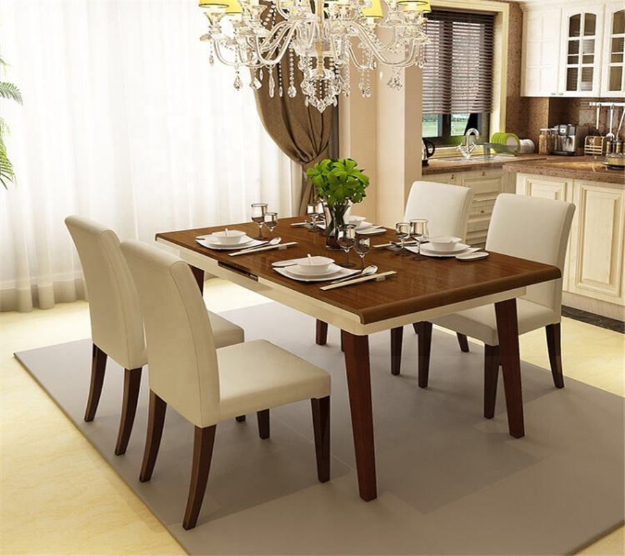 home furniture wood round dining table and wooden six famous chair designers (HX-8DN052)