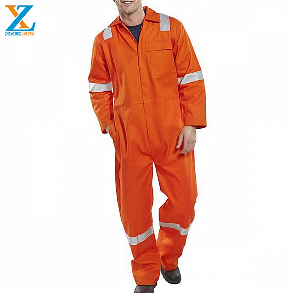 240gsm Men Polyester / Cotton Oil And Gas Workwear Orange Coveralls Boiler Suits With Reflector