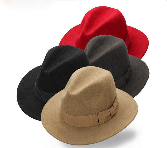 2021 New Fashion 18 Color In Stock Panama Hats Unisex 100% Wool Felt Wide Brim Fedora Hat Wholesale