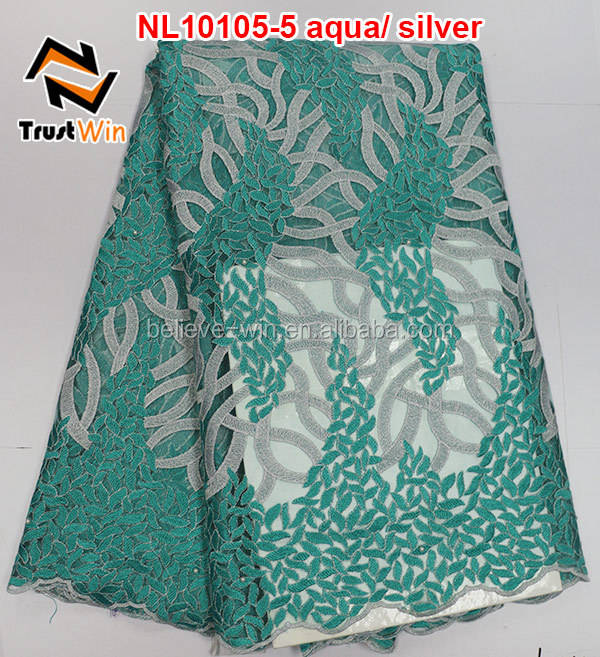 Teal ruban nigeria tulle dentelle tissu français de <span class=keywords><strong>partie</strong></span> nl10105