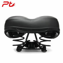 Non-slip PVC Leather Bicycle Saddle Elastic Spring Bike Seat Cycling Thick Spone Wide Soft Big Saddle