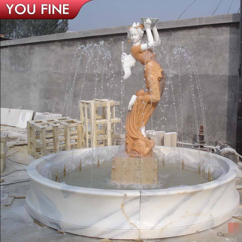 Hand Carved Marble sexy lady water fountains outdoor