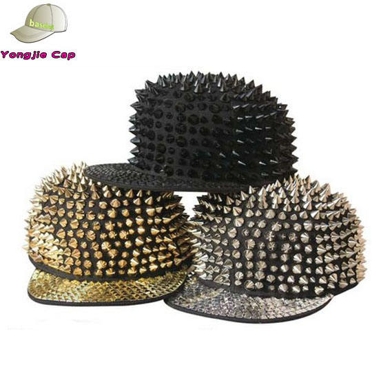 egel hip hop punk rock goud klinknagels spikes bezaaid zilveren hoed baseball <span class=keywords><strong>cap</strong></span>