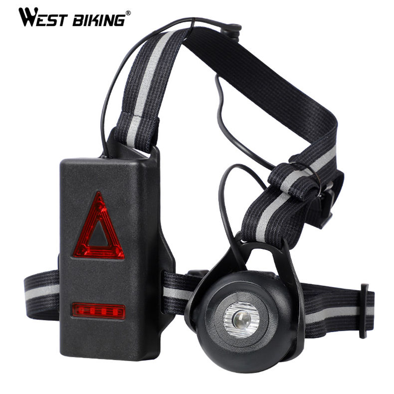WEST BIKING Night Running Lamp Chest Body Torch USB Rechargeable Flashlight With Warning Taillight Led Running Night Light