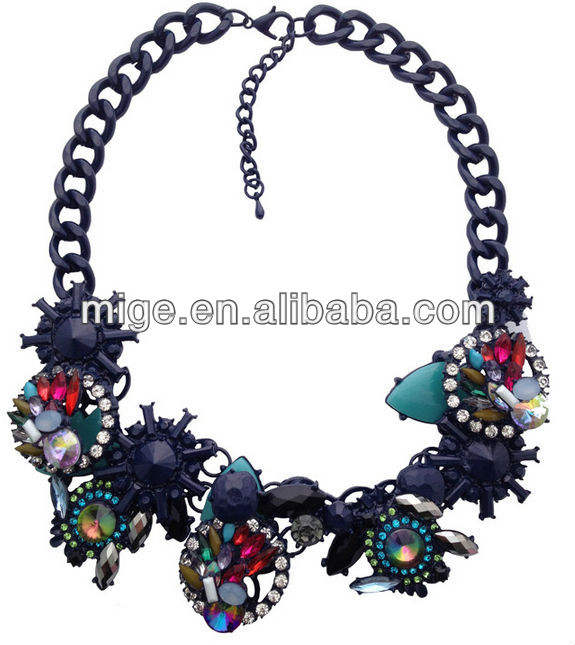 New geometric flowers artificial gemstones Diamond Necklace statement necklace costume jewelry N0087