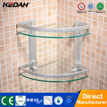 KD-L5622 wall mounted acrylic bathroom shelf wall mounted dual tier glass bath shelf bathroom metal corner shelf