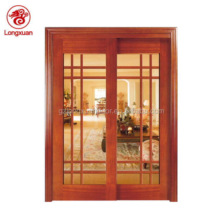 Customized wood main door frame panel sliding glass latest design wooden double doors for kitchen