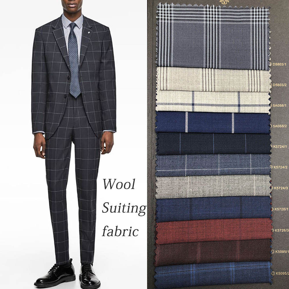 wholesale ready goods fashion Plaid 50% wool suiting fabric
