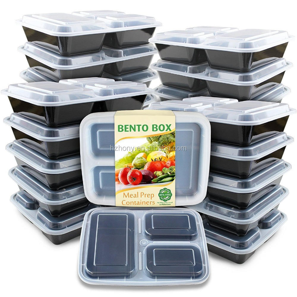 Meal Prep Containers [20 Pack] 3 Compartment with Lids, Food Storage Bento Box | BPA Free | Stackable
