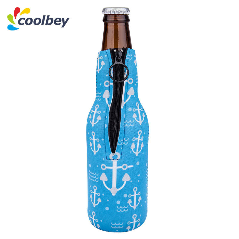 Blue Anchor, Best Wedding Family Reunion, Zipper Sleeve Marine Beer Bottle Covers Coozies