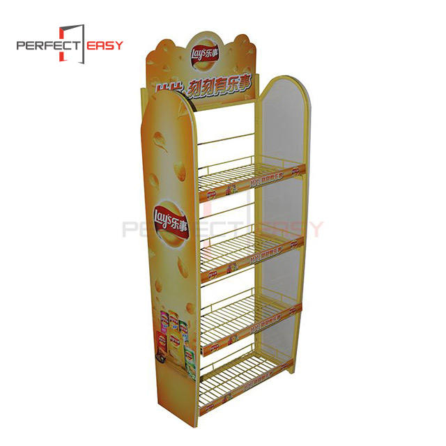 Pop custom energy food metallic colorful potato chips metal floor display stand for stores