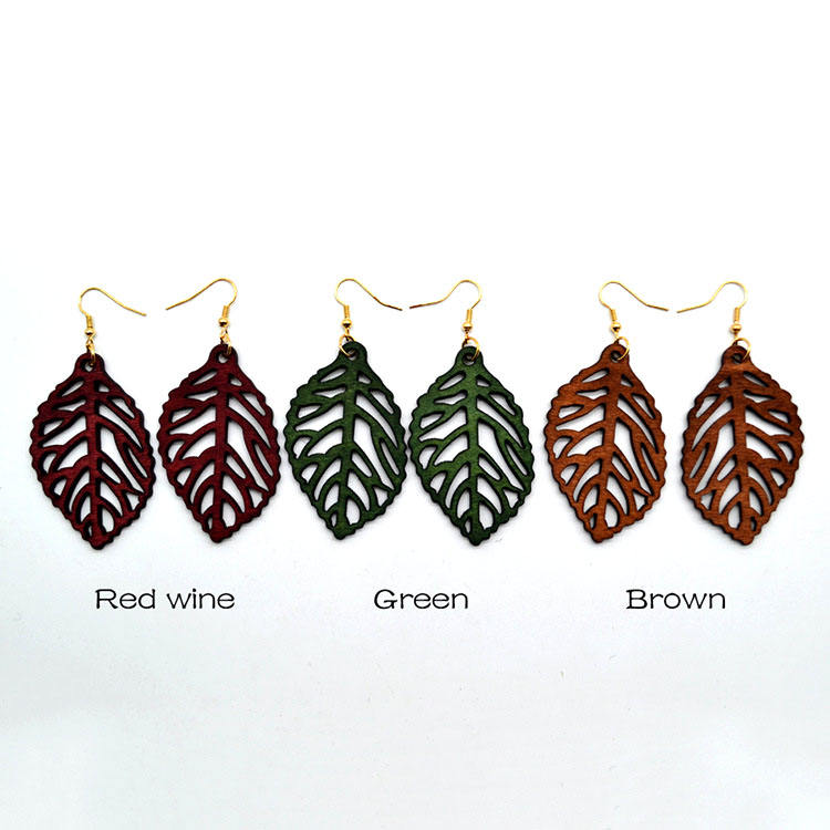 2018 New Arrival Fashion Women Colorful Earrings Wooden African Hollow Leaf Pendant Earrings