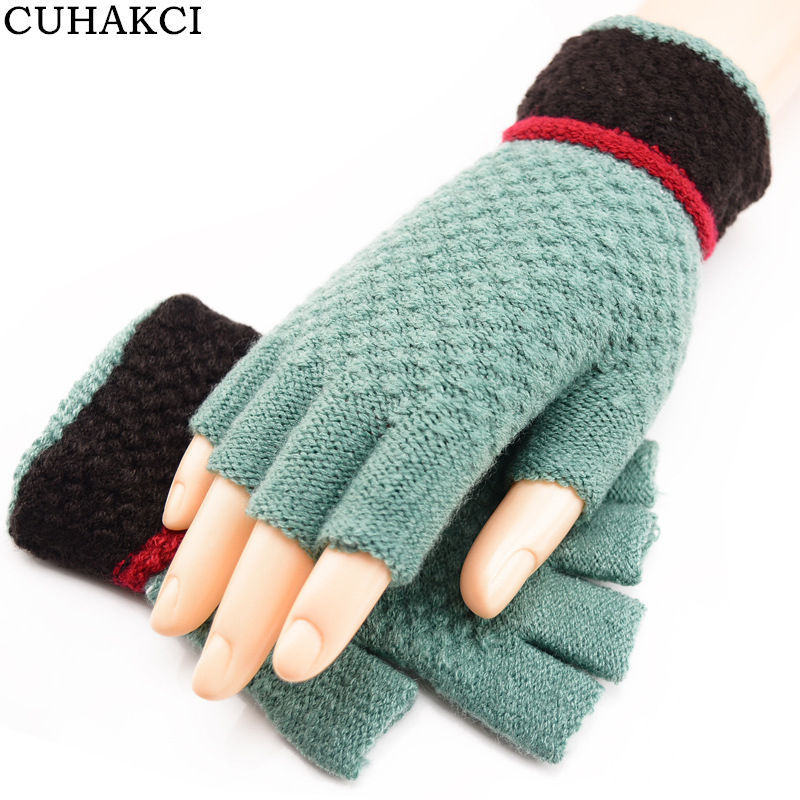 CUHAKCI Women Woolen Knitwear Soft Half Finger Gloves Winter Men Outdoor Driving Knitted Fingerless Glove Warmer