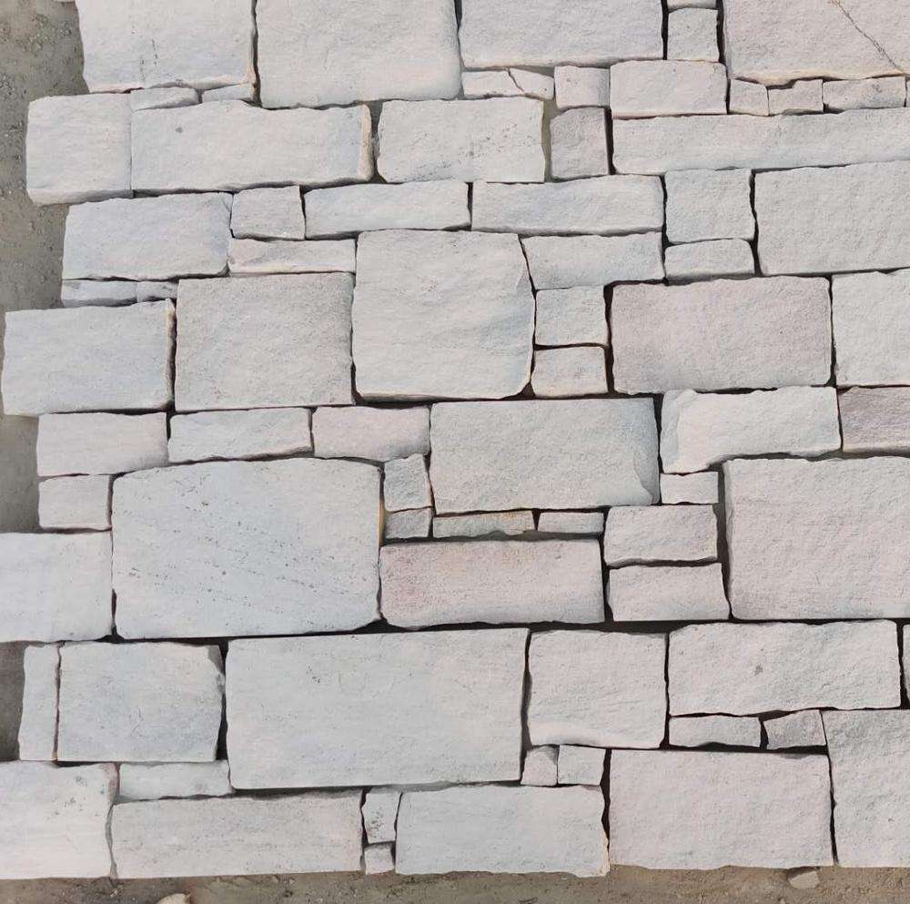 Natural White Sandstone Cement Wall Cladding White Wall Stone Panel