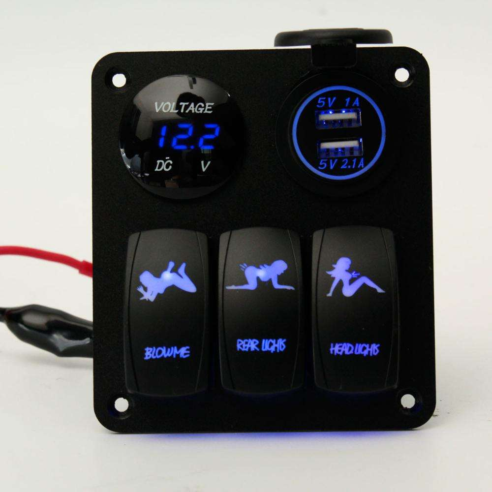 Blue LED Light 2 Waterproof Marine/Boat Car Switch Panel 3 Gang USB Charger Voltage Indicator Power Socket 5 pin On Off Rocker
