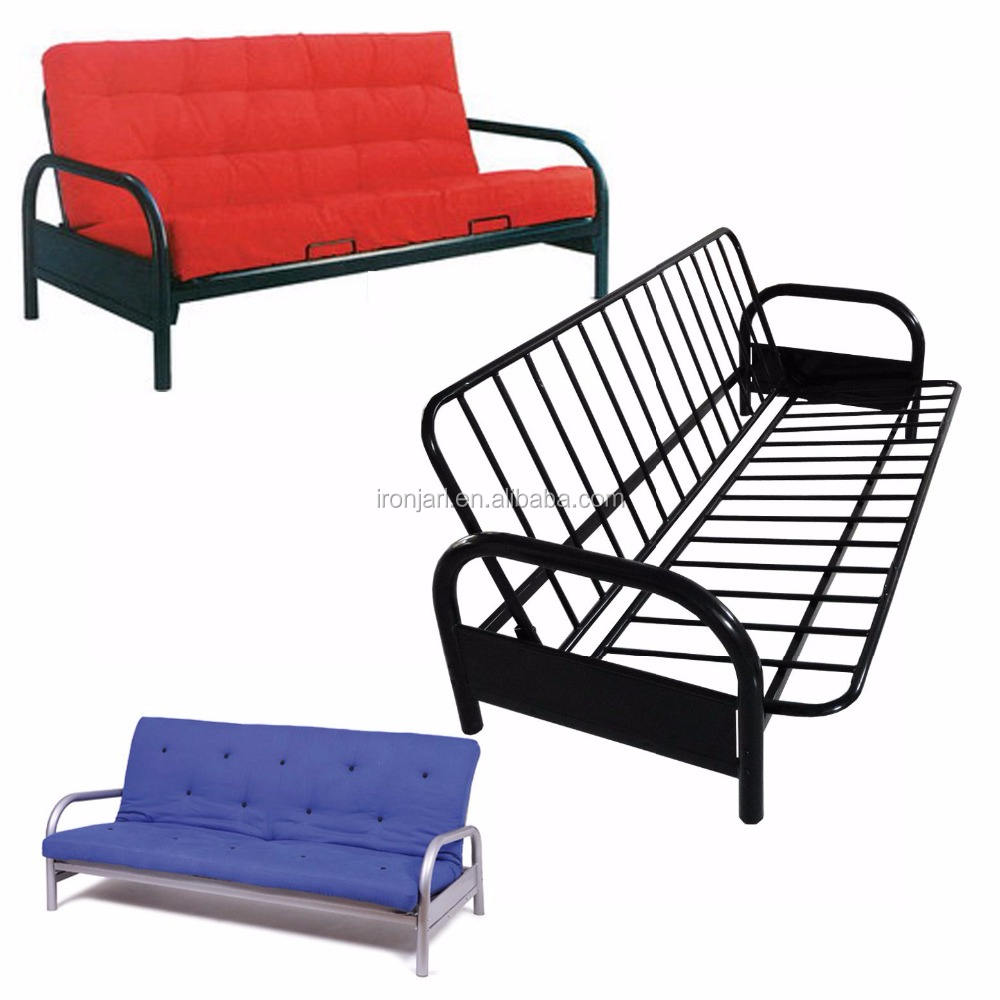 Modern Metal Living Room Furniture Folding Iron Futon Sofa Cum Bed Y