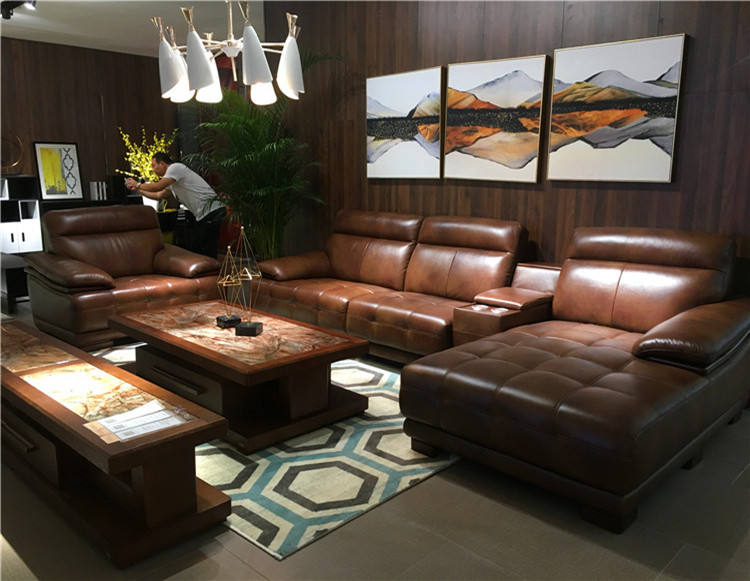 luxury brown sectional classic wood frame L shaped sofa with corner table modern designed leather sofa