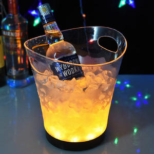 Disesuaikan 5L Akrilik Bening Plastik PS Bir Anggur Vodka Light Up LED Ice Bucket Grosir
