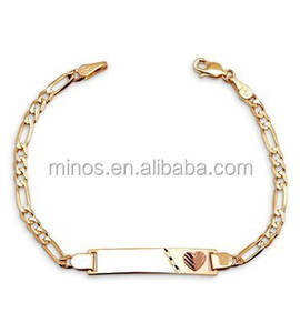 14k Yellow Gold Plated Baby Bangle Bracelet,Men' Bracelet ID Bracelet Jewelry