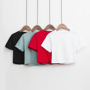 Summer Women Knitted crop Short Sleeve T Shirt Tees Solid O-neck T-Shirts Women Casual Cute Cropped Top