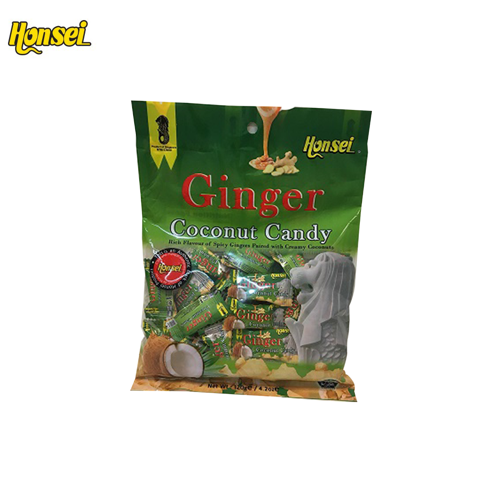 Honsei Wholesale Healthy Sweet Hard Ginger Candy with Coconut
