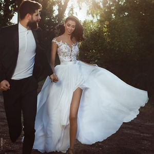 ZH0560X A Line Chiffon Beach Cheap African Milla Nova Country Wedding Dresses Split Front Wedding Bridal Gowns 2019 Casual Dress
