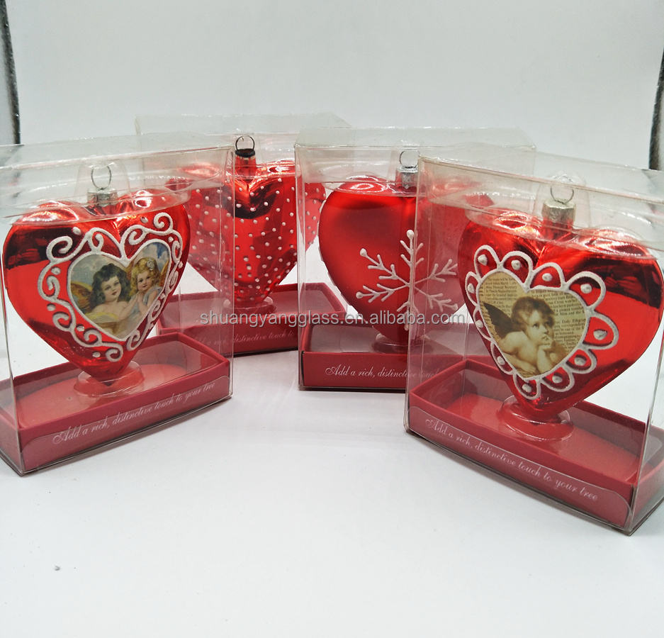 2018 romantic Valentine's Day gift glass red heart shape ornament