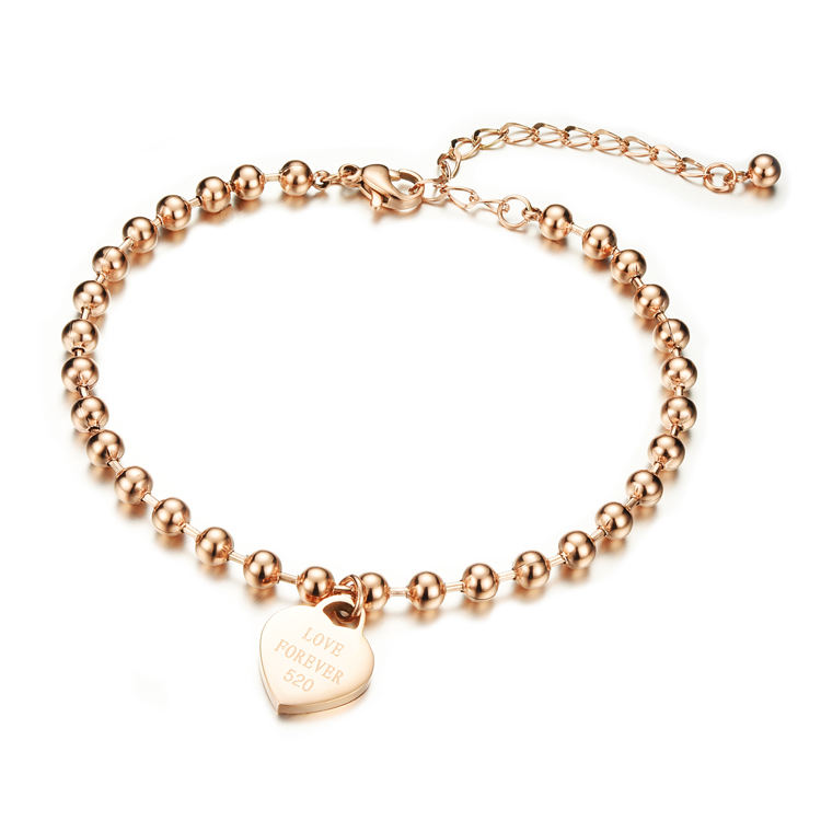 Marlary Fashion Beads Bracelets Anklets Round Circle Chain Love Forever Heart Foot Jewelry Rose Gold Beaded Anklet