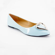 women latest pointed toe ladies flat leather shoes with heart buckle
