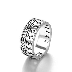 Fashion Tire Pattern Men's Buddha Chain Link Finger Ring Ancient Silver O Jewelry ring