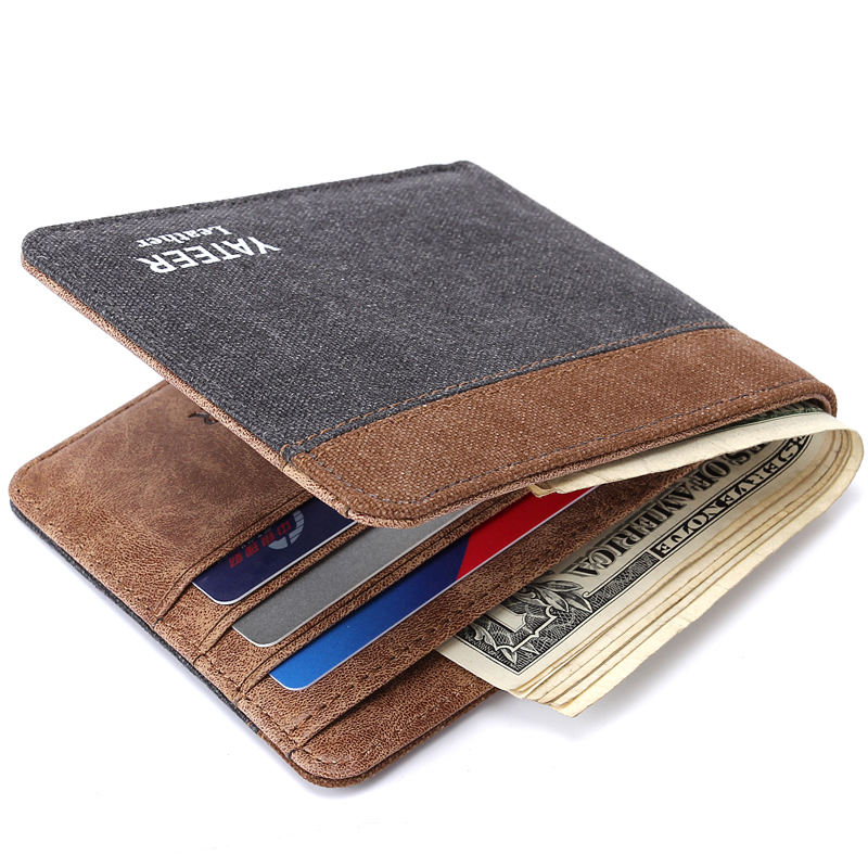 YATEER top quality cow PU leather men wallet fashion splice purse dollar price carteira masculina Striped simple style wallet