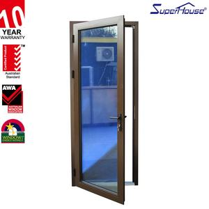 Hurricane proof bullet proof high quality office double glass hinged door