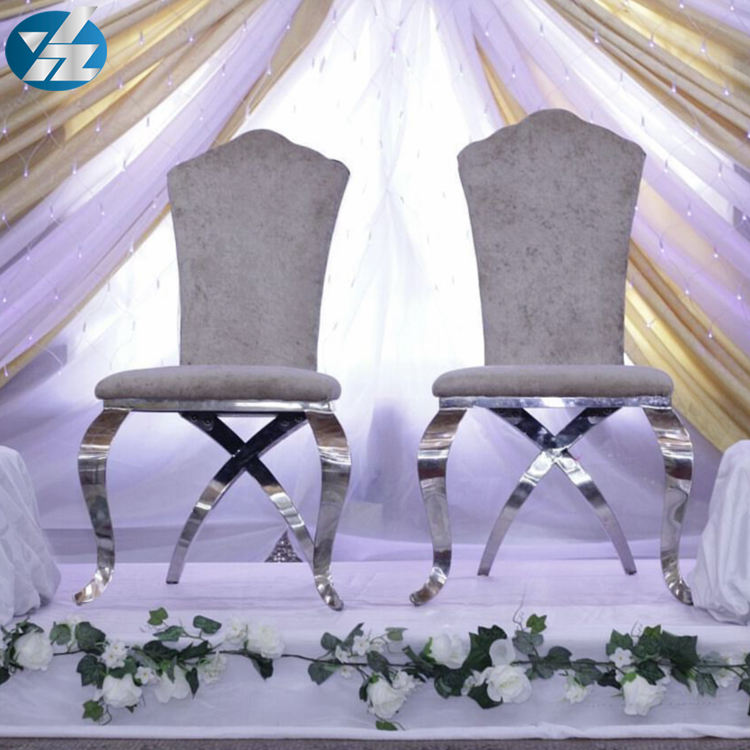 High quality white chivalry banquet chair with flower-shaped back