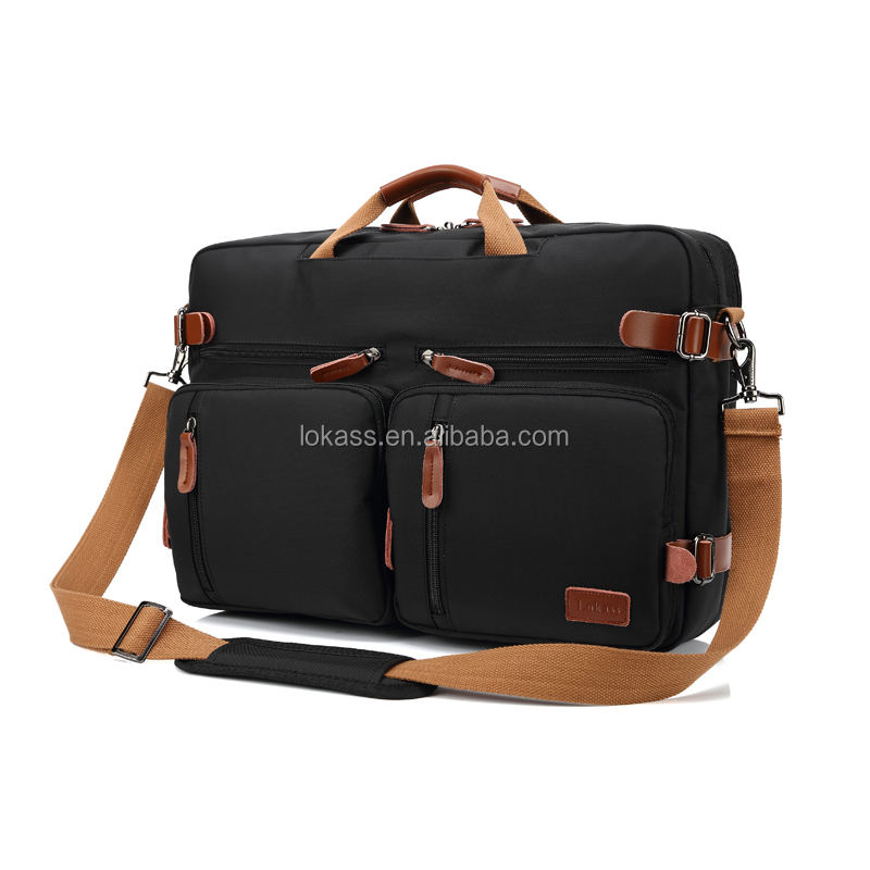 Lokass 15.6 and 17.3 inches 3 ways to carry shoulder messenger backpack laptop bag for men and women