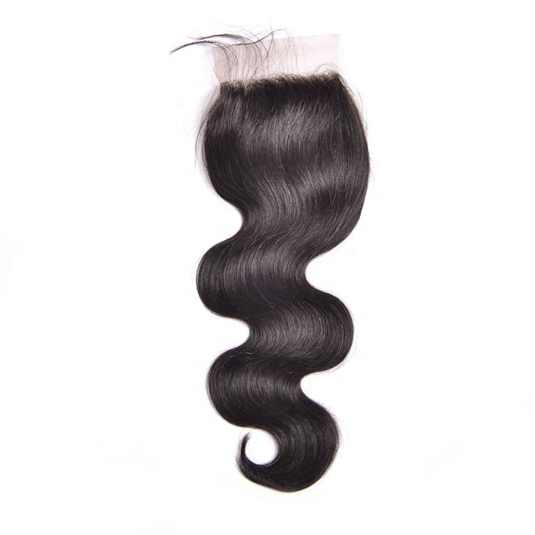 Body wave virgin brazilian hair free part lace closure with baby hair , natural hairline hair extension for black woman