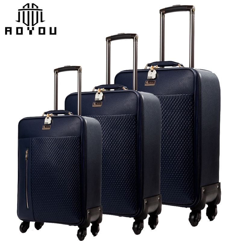 3pcs 16inch 20inch and 24inch luggage set pu leather travel luggage cheap trolley suitcase set