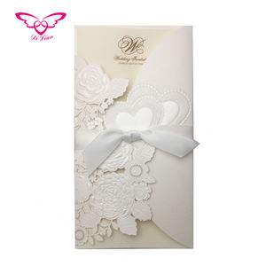 Elegant Embossing Flower And Sweet Loving Hearts Invitation Card
