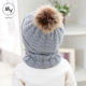 Baby Hats Baby Kids Hat And Scarf 2Pcs Toddler Baby Winter Warm Fur Ball Hats O Ring Scarves Kids Knitted Beanie Cap And Scarf Girls Boys Cap And Scarf Set
