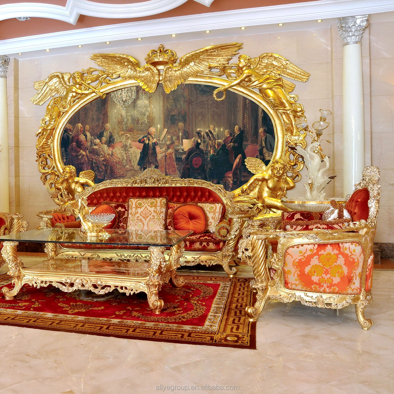 AS111000- Living Room Sofa Specific Use and Antique Appearance Baroque New Classical sofa set