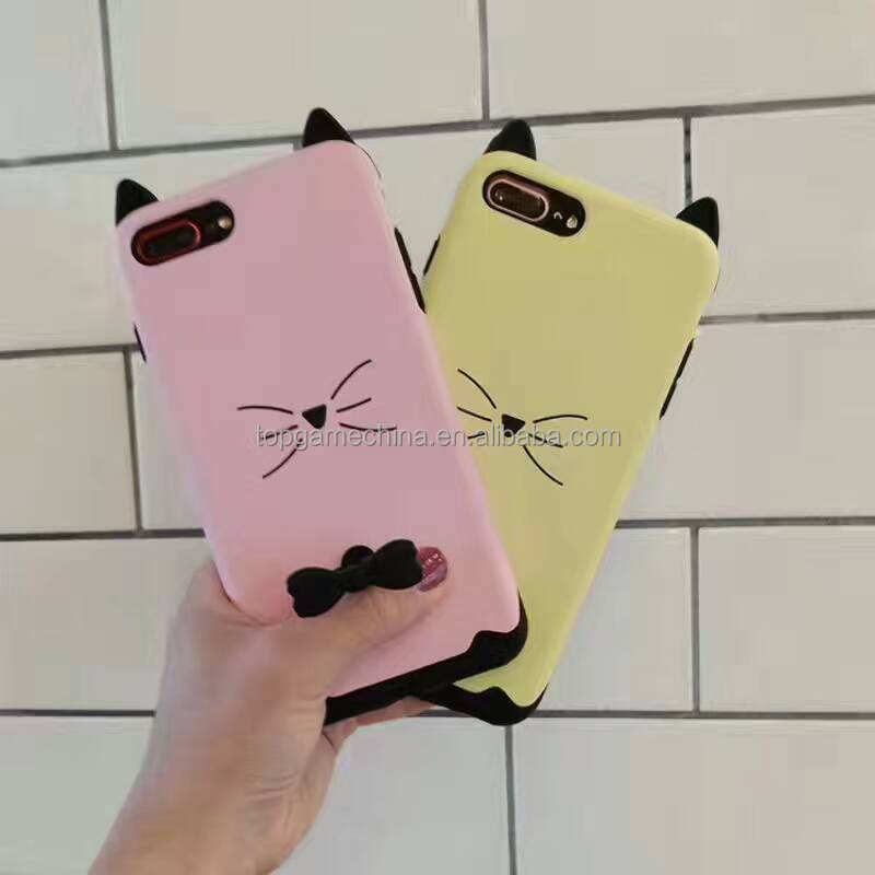 Korea Design Nette Katze Phone Cases Für iPhone 6 6 S Plus 7 7 Plus Mit Ring Standplatz-fall