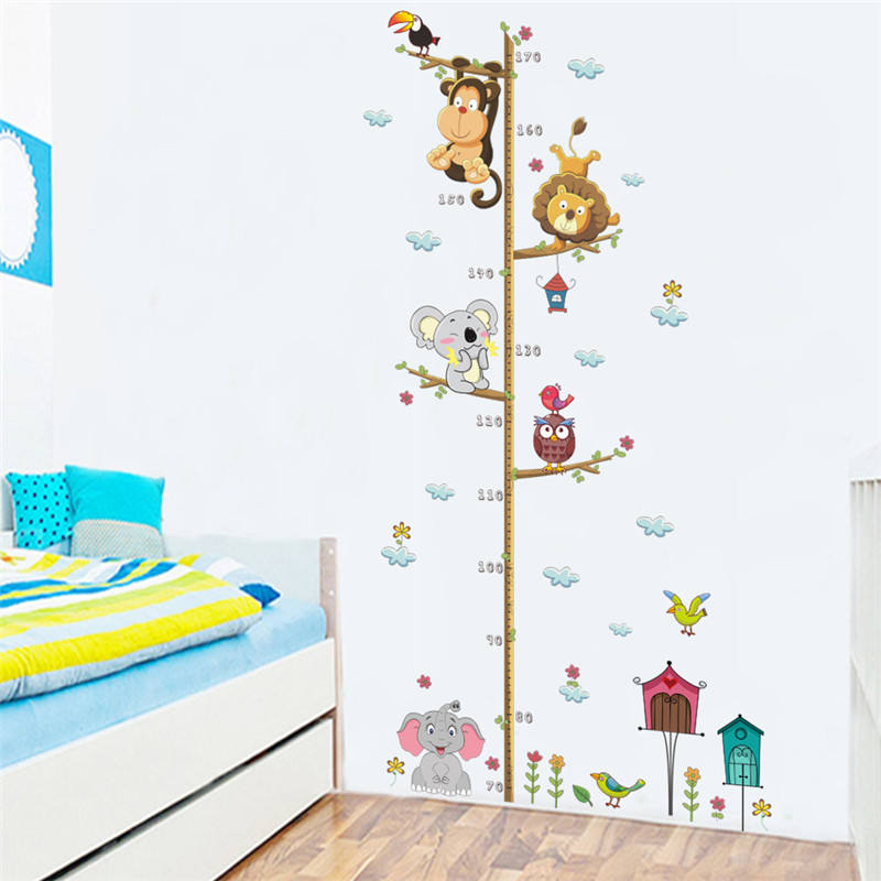 ZOOYOO Monkey Lion Home Decor Kids Room Height Chart Wall Sticker