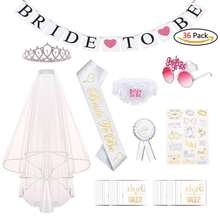 UMISS Hen Party Accessories Bridal shower Decorations including Bride to Be Sash Crown Tattoos