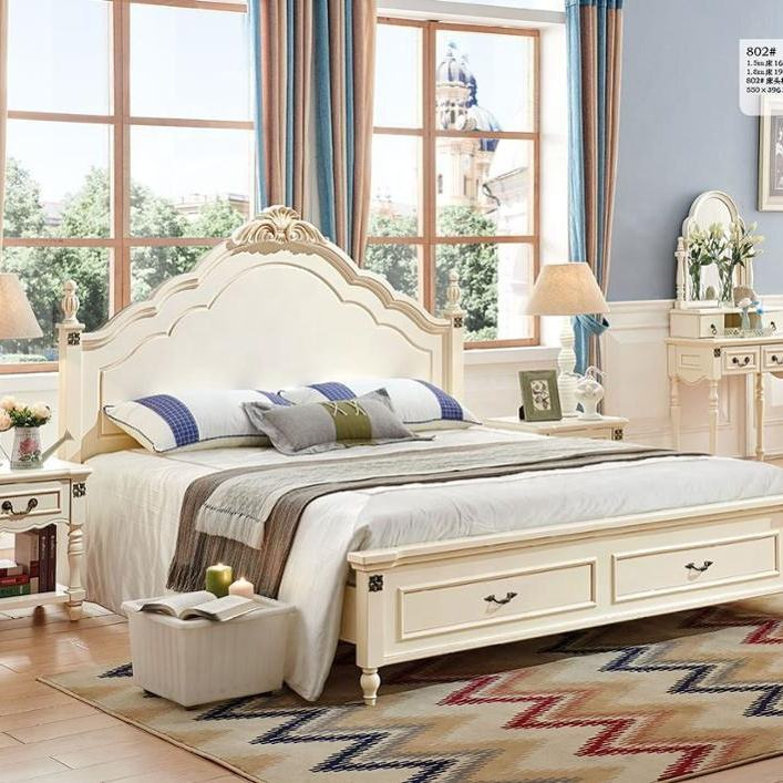2019 Latest modern style bedroom furniture set was made from solid wood and E1 MDF board for bedroom furniture sets